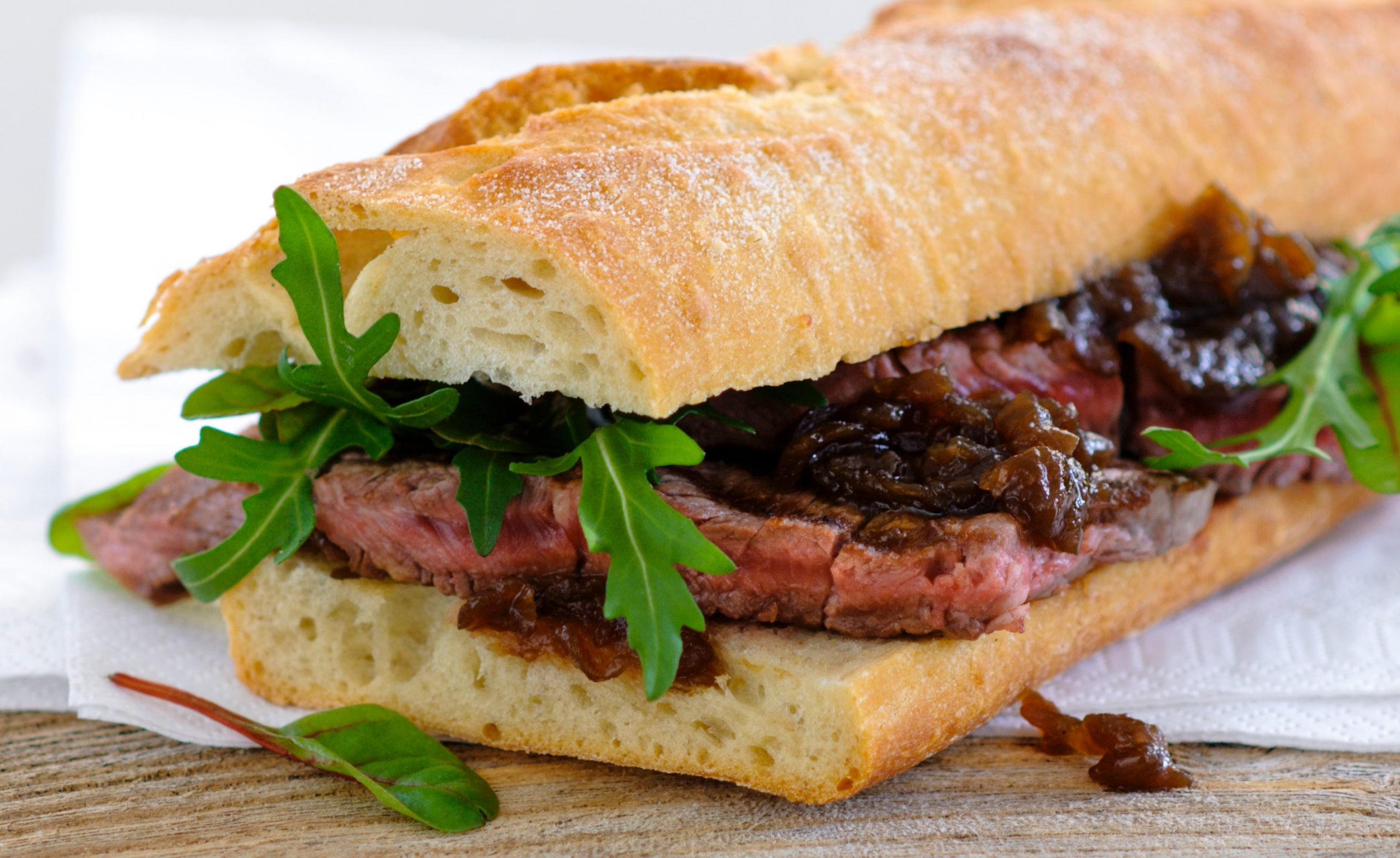 Steak Baguette with Caramelised Red Onion Relish recipe