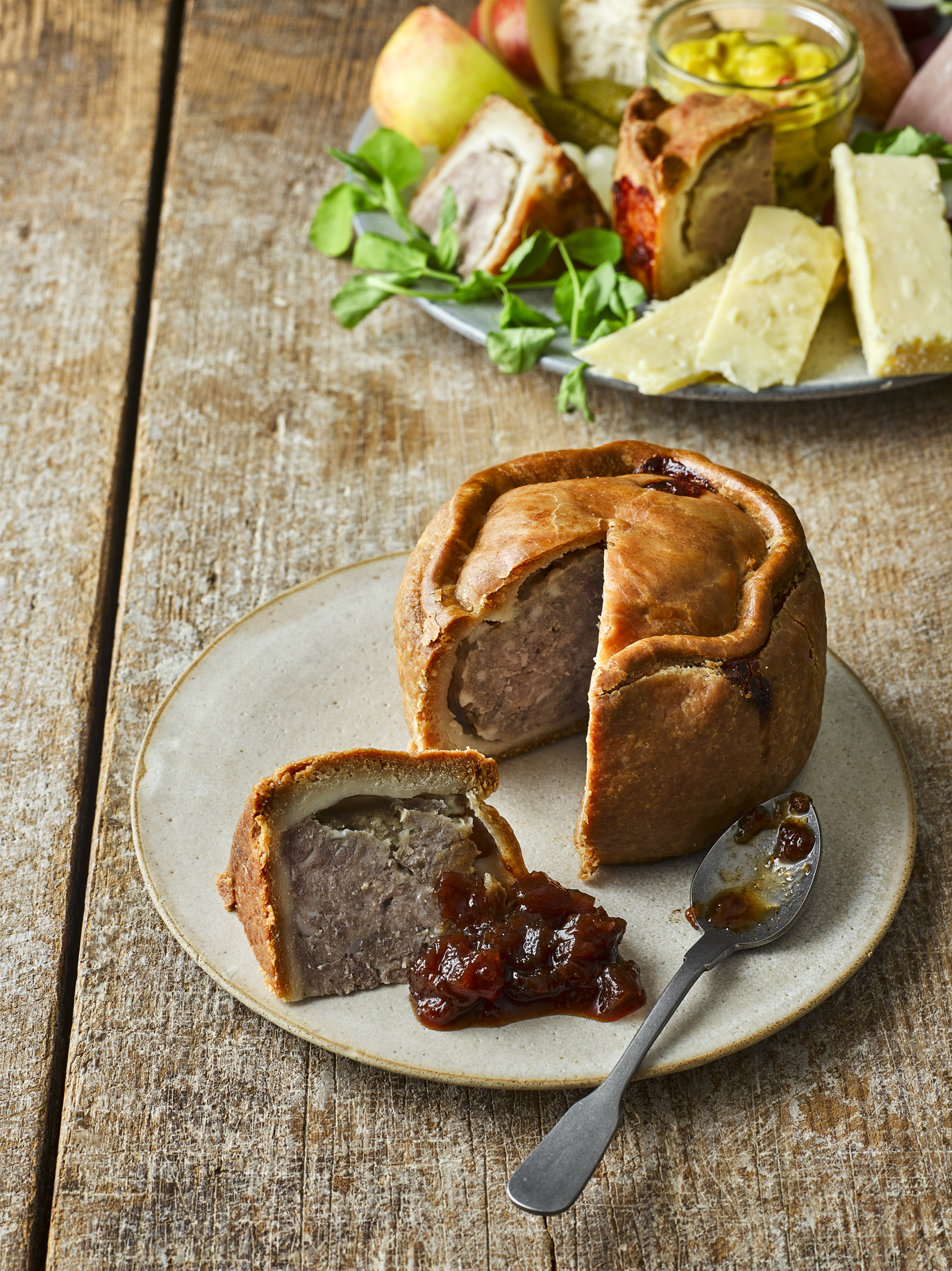 Pork Pie with Pickle and Chutney
