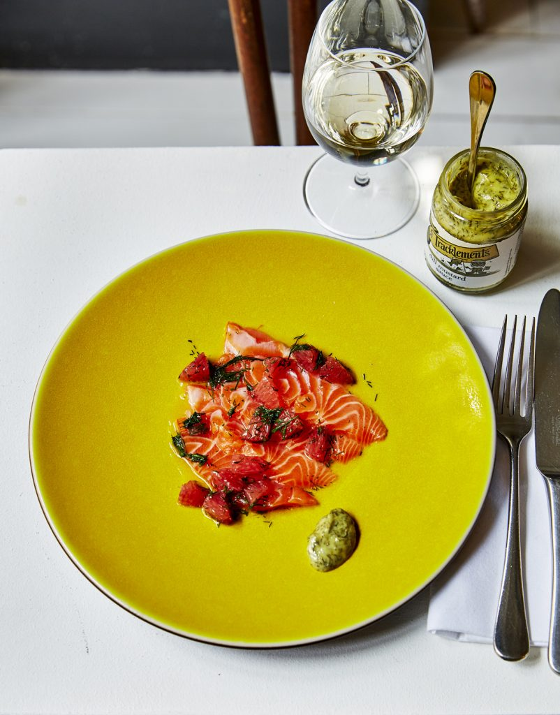 Dill with marinated sea trout and grapefruit