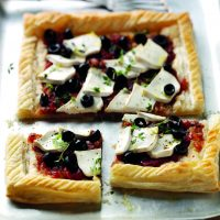 Goats Cheese and Puff Pastry Pizza with Tracklements Chunky Tomato Chutney
