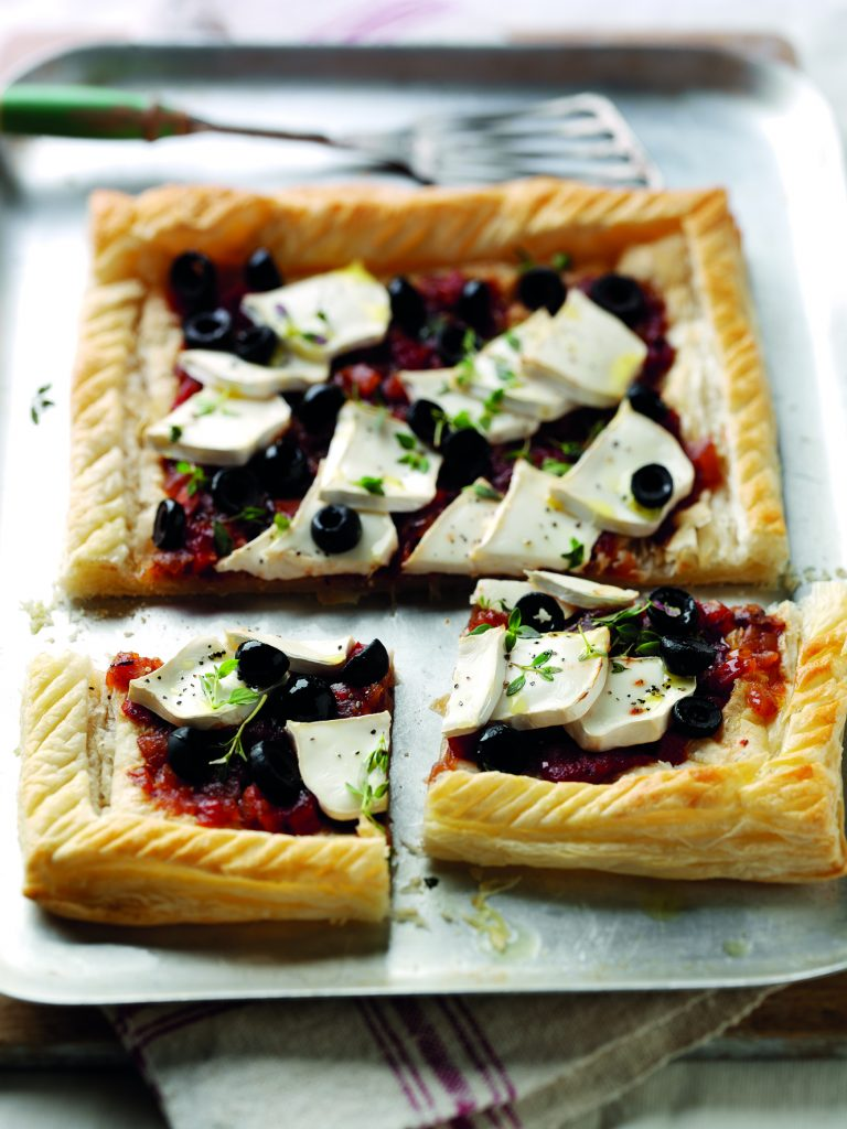Goats Cheese and Puff Pastry Pizza with Tracklements Tomato Chutney