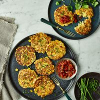 Sweetcorn, Halloumi and Tracklements Cucumber & Sweet Pepper Relish Fritters
