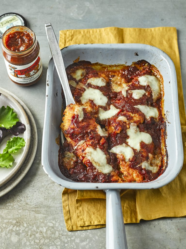 Chicken Parmigiana with Chunky Tomato Chutney