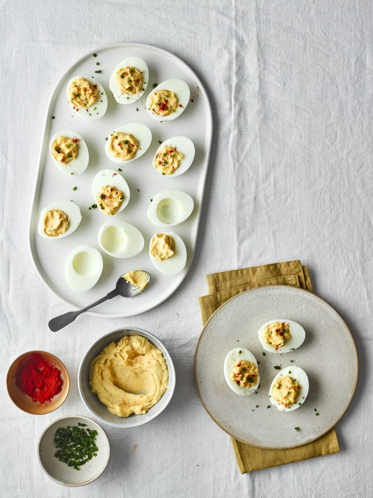 Devilled Eggs with Spitfire Chilli Mustard and Mayonnaise