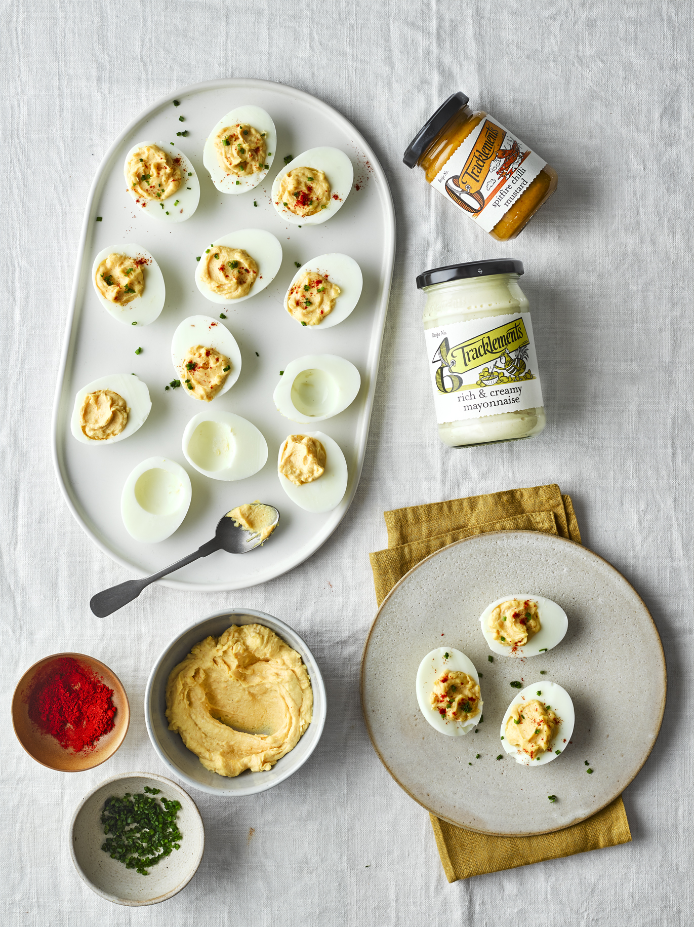 Devilled Eggs with Spitfire Chilli Mustard and Rich & Creamy Mayonnaise