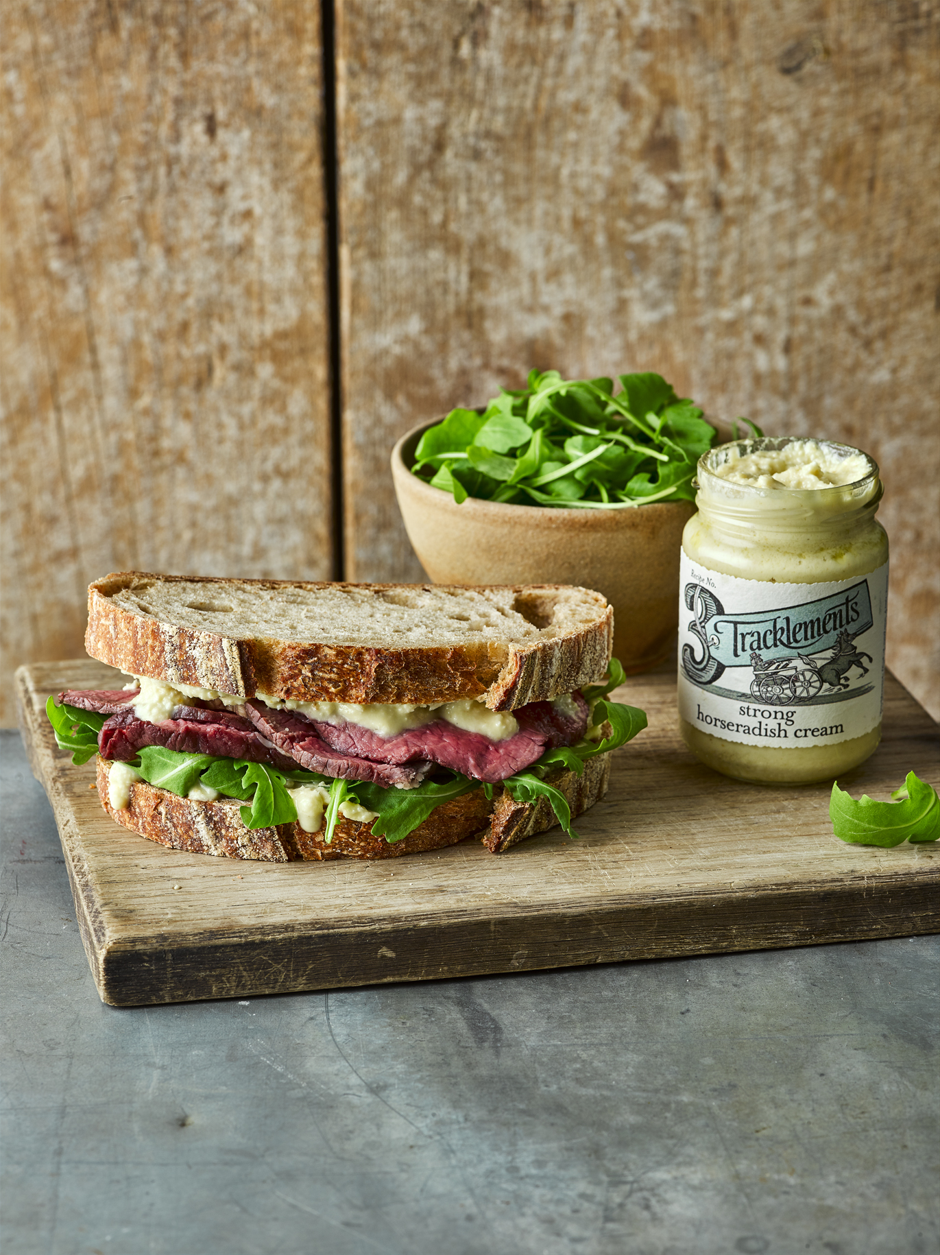 Rare Roast Beef Sandwich with Strong Horseradish Cream