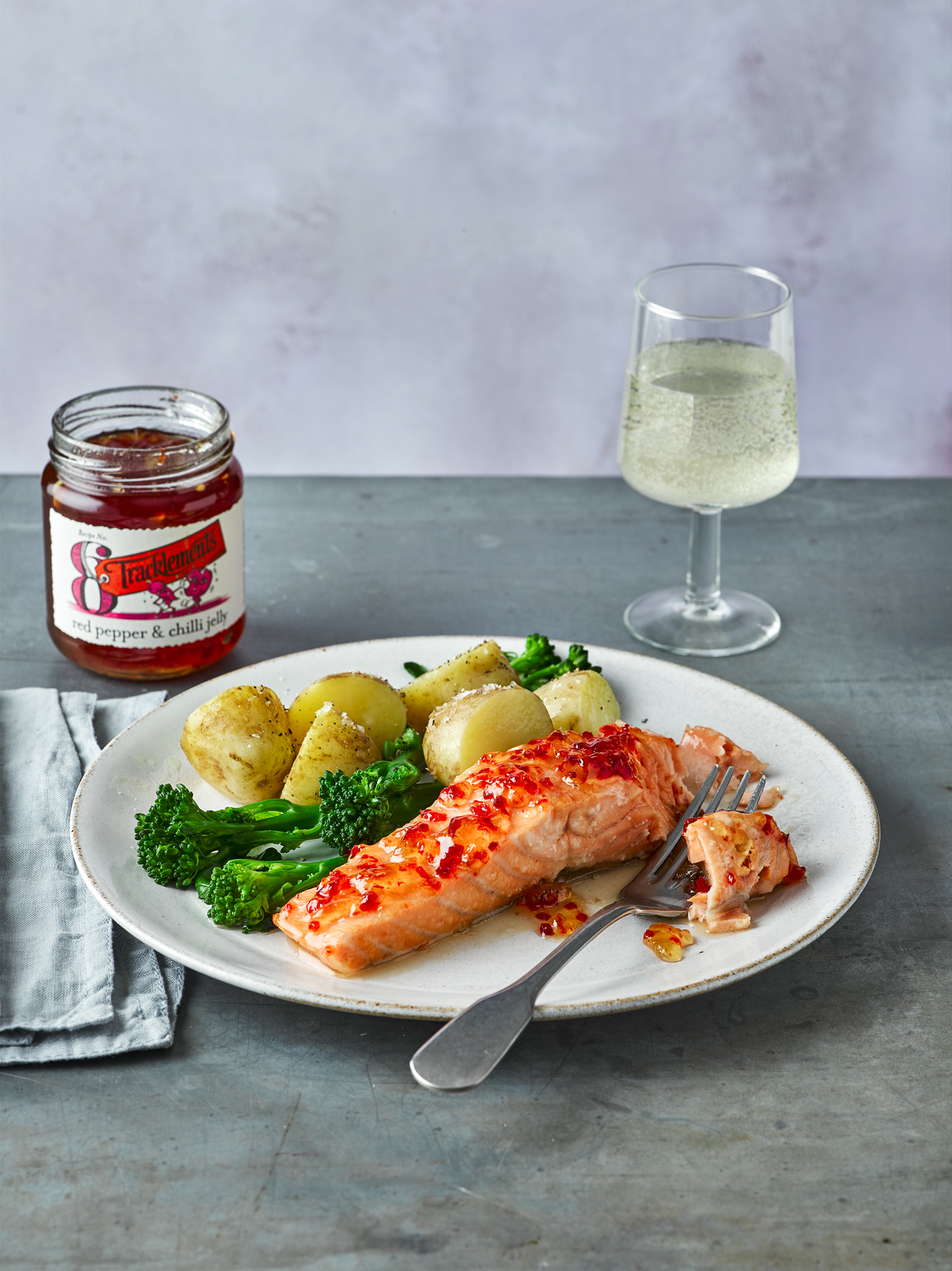 Baked Salmon with Red Pepper & Chilli Jelly