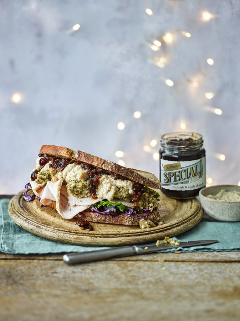 Turkey and Stuffing Sandwich with Rhubarb & Apple Chutney