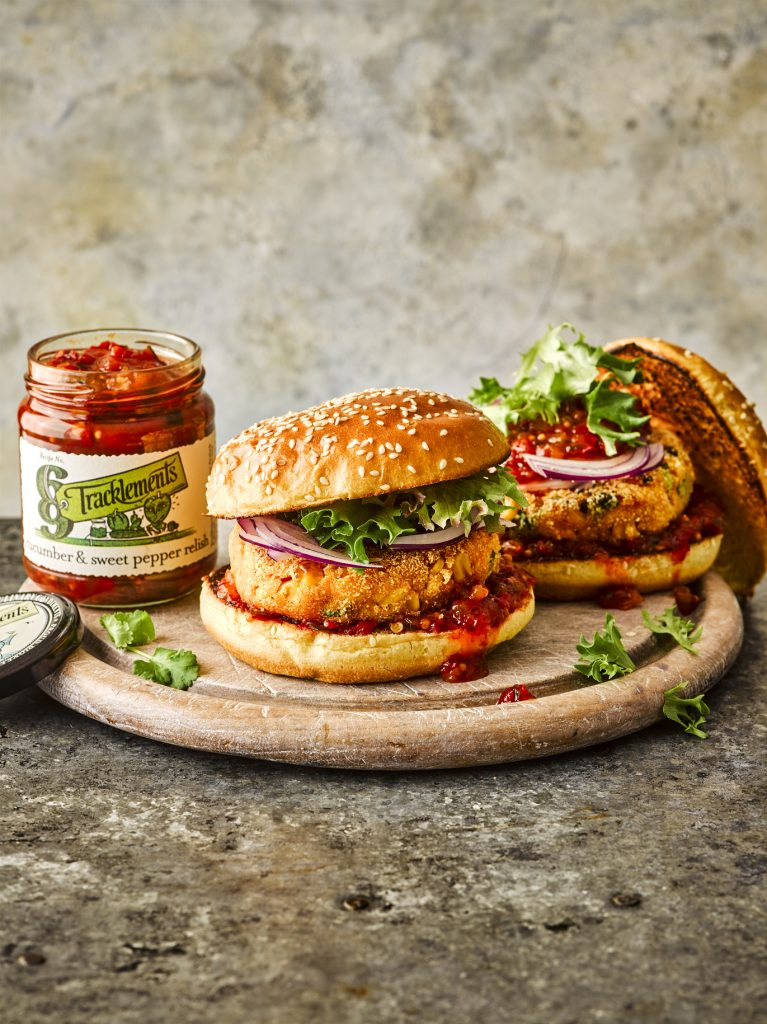 Sweet Potato Burger with Cucumber & Sweet Pepper Relish
