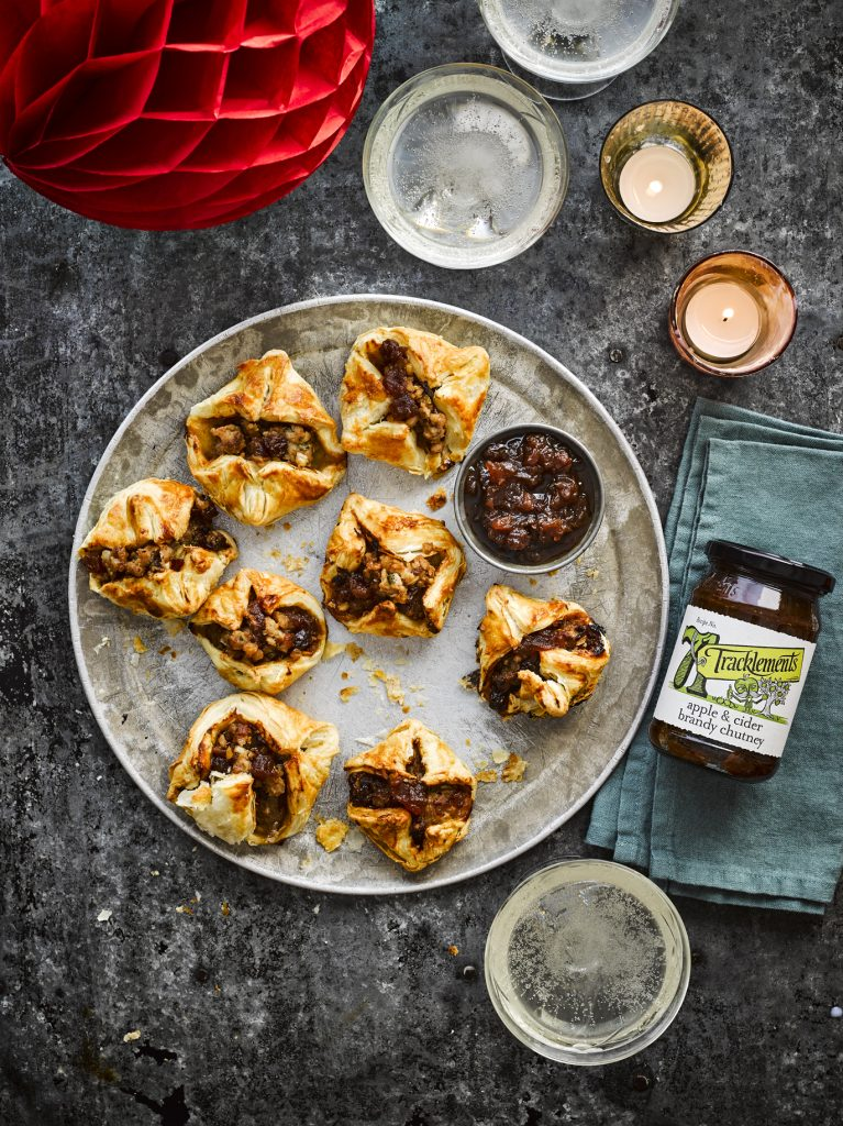 Sausage Roll Canape Bites with Apple & Cider Brandy Chutney