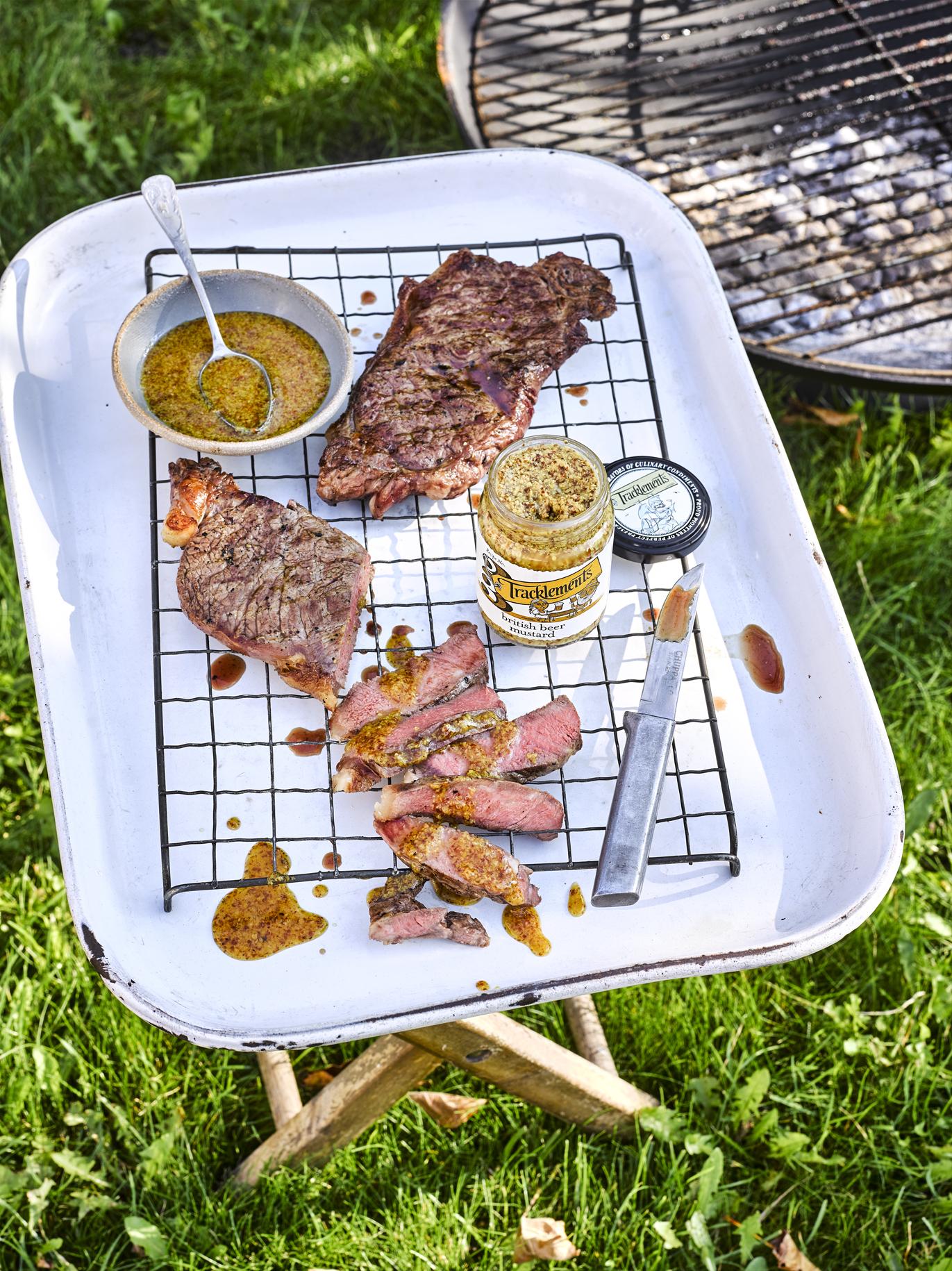 Barbecued Steak with British Beer Mustard Dressing